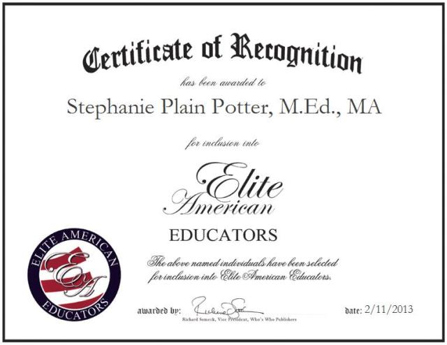 Stephanie Plain Potter, M.Ed., MA