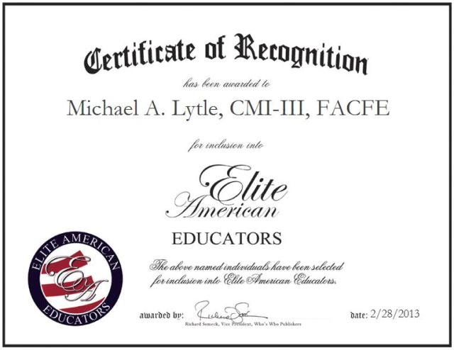 Michael A. Lytle, CMI-III, FACFE