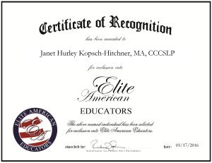 Janet Hurley Kopsch-Hitchner, MA, CCCSLP